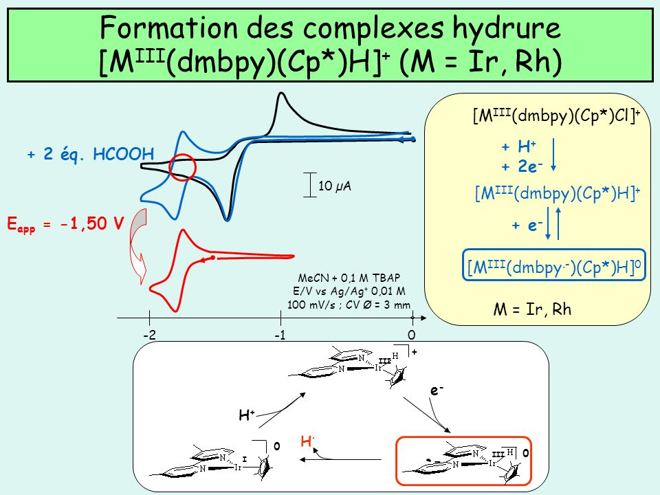 Formation des complexes hydrure [MIII(dmbpy)(Cp*)H]+ (M = Ir, Rh)